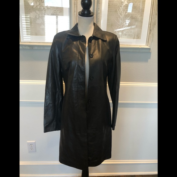 Express Jackets & Blazers - Vintage Express Black Trench Leather Coat Sz. 5/6